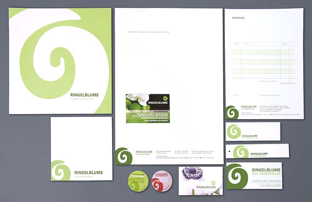 Geschäftsausstattung: Imagebroschüre, Briefpapier, Visitenkarten, Aufkleber, Schildchen, etc.