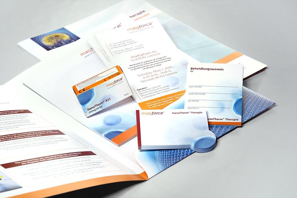 Produktverpackung, Mappe, Flyer, diverse Werbemittel