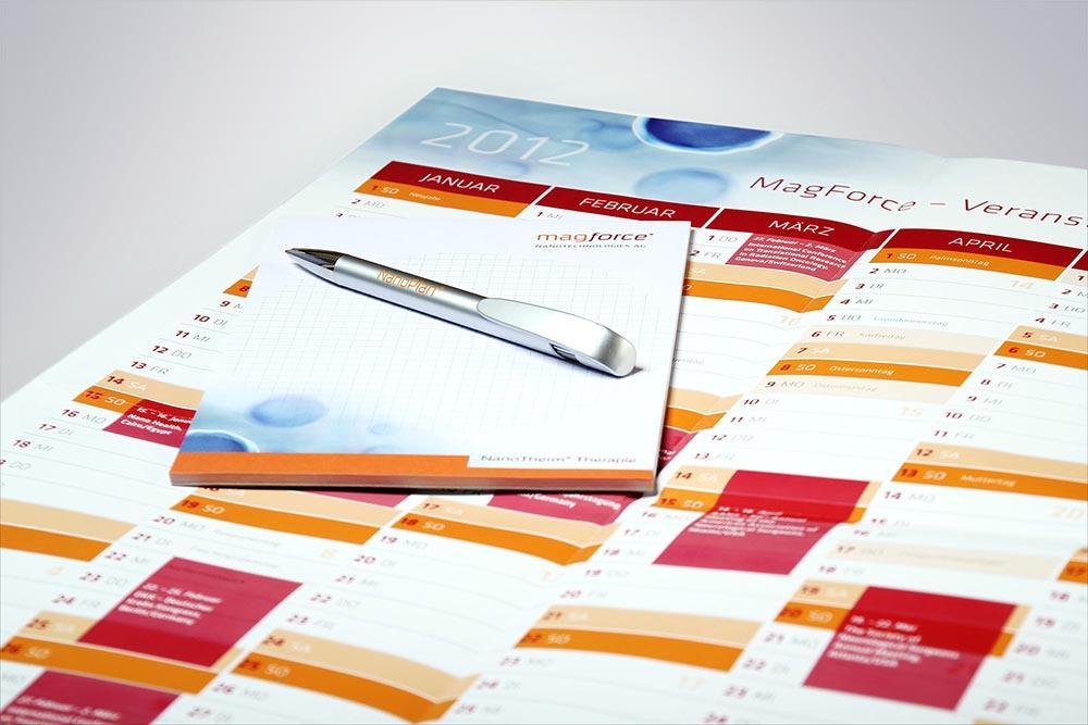 Wandkalender, Block, GiveAway Kugelschreiber